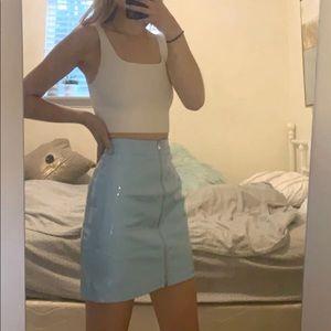 NWT Pretty Little Thing light blue vinyl skirt